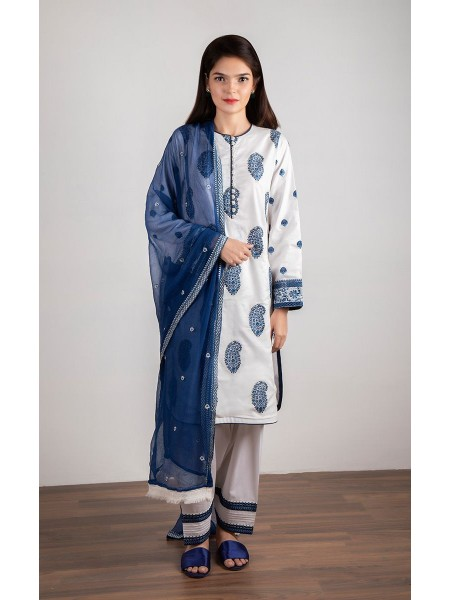 Zellbury Luxury pret Kurta - French Grey - Khaddar ZWZPE119276-Multi
