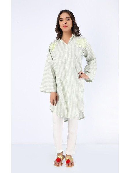 Zellbury Luxury pret Kurta - Snow Drift - Stripe Cotton ZWZPE19427-LightGreen
