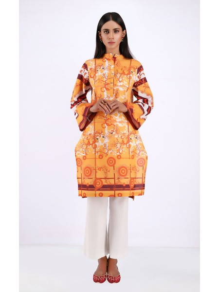 Zellbury Luxury pret Kurta - Tangerine Orange - Khaddar ZWZP19465-P-Multi