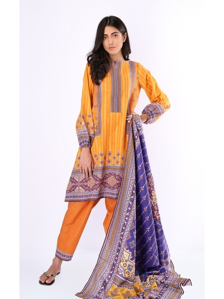 Zellbury Luxury pret Kurta Dupatta - Yellow Sea - Khaddar ZWZP219494-Multi
