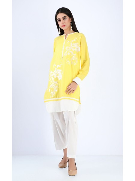 Zellbury Luxury pret Kurti - Texas Yellow - Cambric ZWZPE19567-Lime Yellow