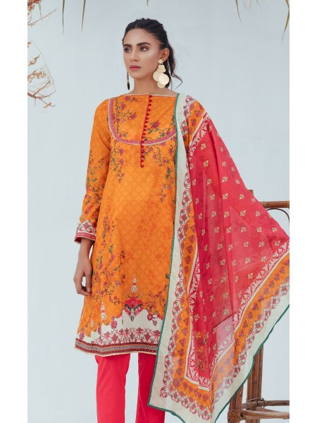 Zellbury Unstitched Spring Collection Shirt Dupatta - California Orange - Lawn Suit ZWUSC220009