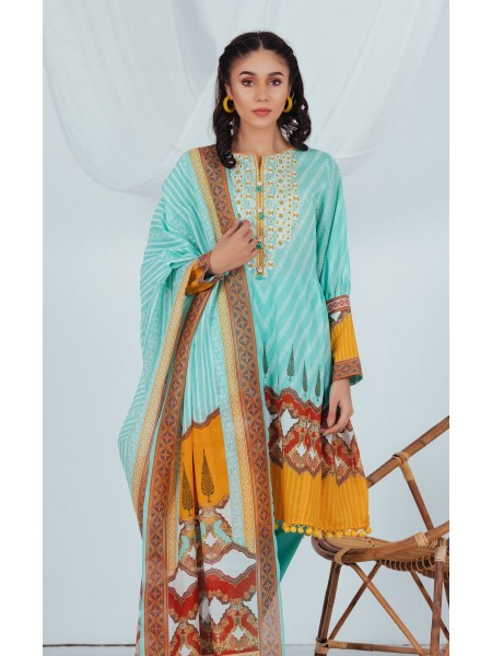Zellbury Unstitched Spring Collection Shirt Dupatta - Crystal Green - Lawn Suit ZWUSCE220019