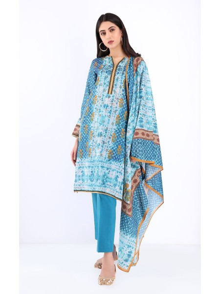 Zellbury Unstitched Spring Collection Shirt Dupatta - French Blue - Lawn Suit ZWUSC220066