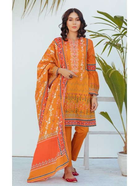 Zellbury Unstitched Spring Collection Shirt Dupatta - Jaffa Orange - Lawn Suit ZWUSCE220006