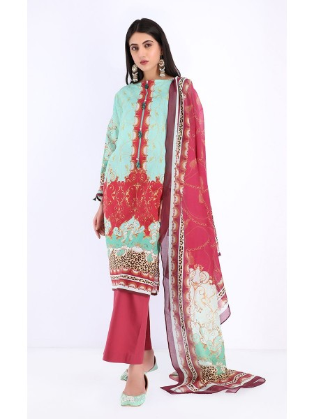 Zellbury Unstitched Spring Collection Shirt Dupatta - Jet Green - Lawn Suit ZWUSC220018