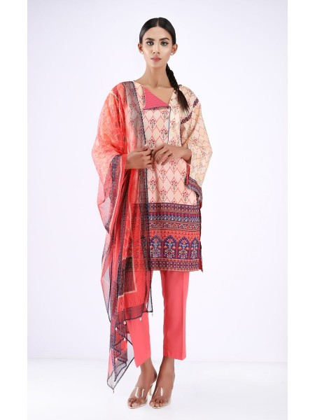 Zellbury Unstitched Spring Collection Shirt Dupatta - Rose Fog Pink - Lawn Suit ZWUSC220052