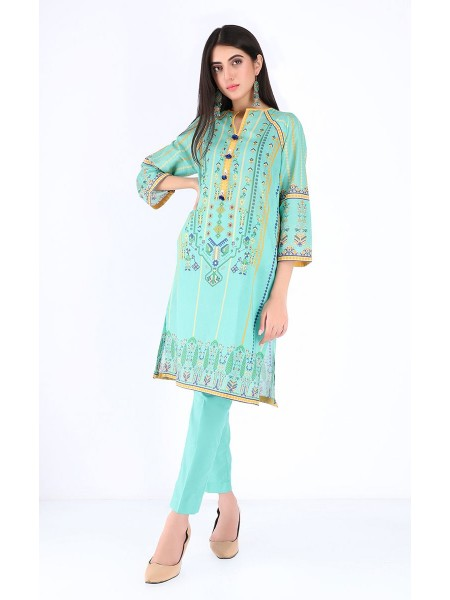 Zellbury Unstitched Spring Collection Shirt Shalwar - Aqua Green - Lawn Suit ZWUSC220002