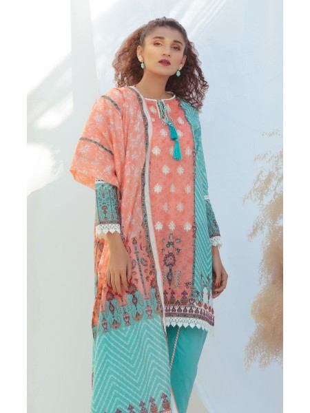 Zellbury Unstitched Spring Collection Shirt Shalwar Dupatta - Aqua Green - Lawn Suit ZWUSCE320071