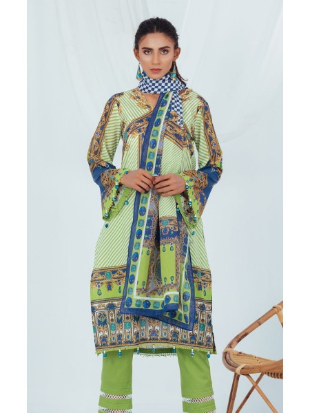 Zellbury Unstitched Spring Collection Shirt Shalwar Dupatta - Beryl Green - Lawn Suit ZWUSC320070