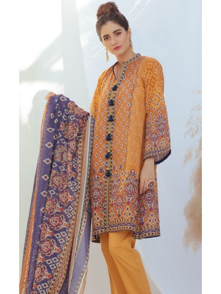 Zellbury Unstitched Spring Collection Shirt Shalwar Dupatta - Honey Comb - Lawn Suit ZWUSC320033