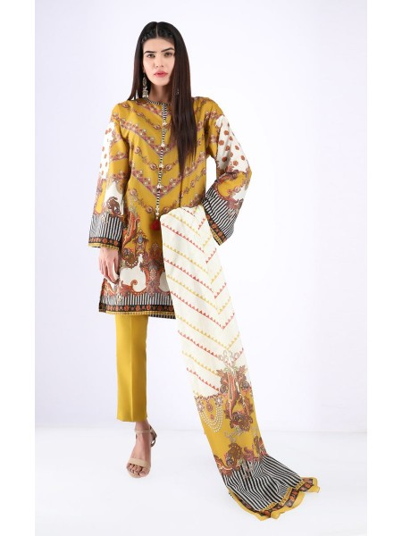 Zellbury Unstitched Spring Collection Shirt Shalwar Dupatta - Old Gold - Lawn Suit ZWUSC320072