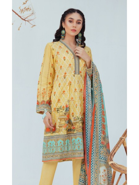 Zellbury Unstitched Spring Collection Shirt Shalwar Dupatta - Pale Yellow - Lawn Suit ZWUSC320055