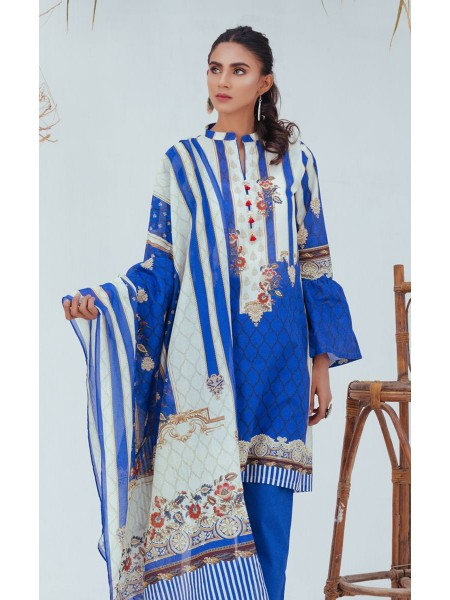 Zellbury Unstitched Spring Collection Shirt Shalwar Dupatta - Rich Blue - Lawn Suit ZWUSC320056