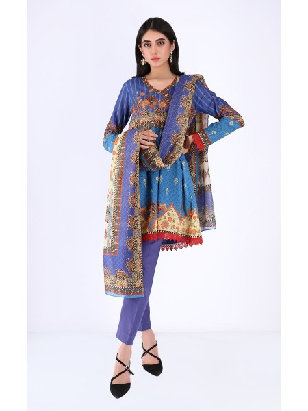 Zellbury Unstitched Spring Collection Shirt Shalwar Dupatta - Scampi Blue - Lawn Suit ZWUSC320039