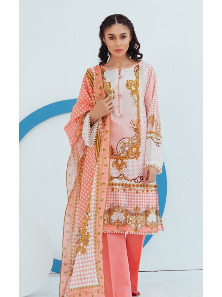 Zellbury Unstitched Spring Collection Shirt Shalwar Dupatta - Spring Pink - Lawn Suit ZWUSC320042