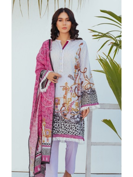 Zellbury Unstitched Spring Collection Shirt Shalwar Dupatta - Twilight Violet - Lawn Suit ZWUSC320051