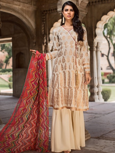 LimeLight Unstitched Summer Collection 2-Pc Jacquard Suit U0756-2PC-OWH