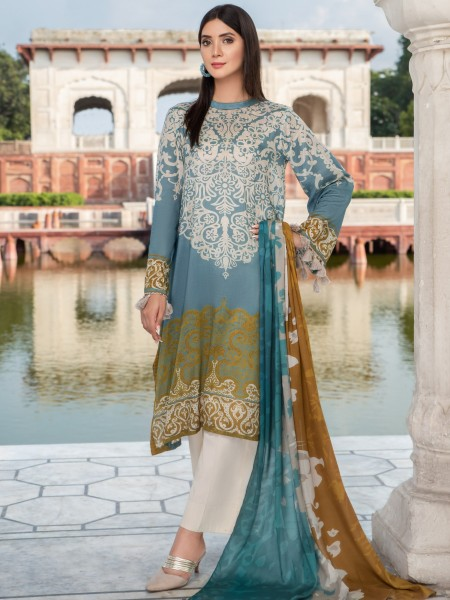 LimeLight Unstitched Summer Collection 2-Pc Silk Suit U0854-2PC-AQU