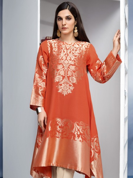 LimeLight Unstitched Summer Collection Jacquard Shirt U1057-SSH-ORG