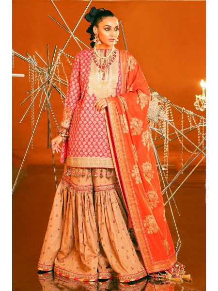 Alkaram Festive Collection 2 Piece Embroidered Suit With Brochier Dupatta FC-07C-20-Pink