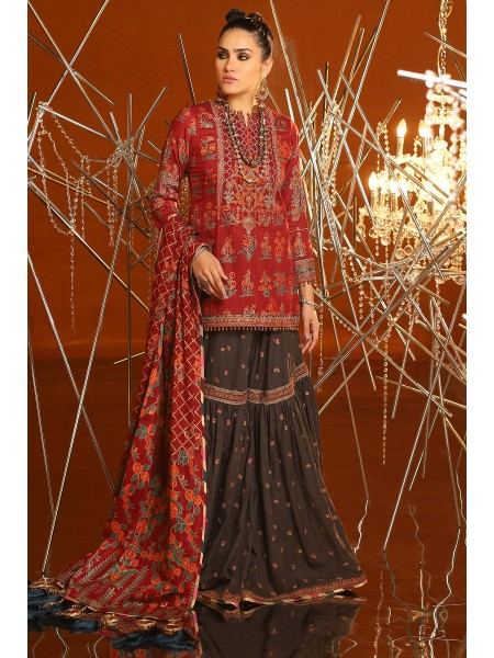 Alkaram Festive Collection 2 Piece Embroidered Suit With Brochier Dupatta FC-08C-20-Maroon