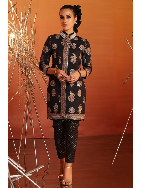 Alkaram Festive Collection 2 Piece Embroidered Suit With Printed Cambric Trouser FC-15G-20-Black