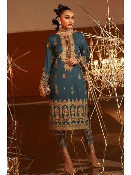 Alkaram Festive Collection 2 Piece Embroidered Suit With Printed Cambric Trouser FC-16G-20-Dark Blue