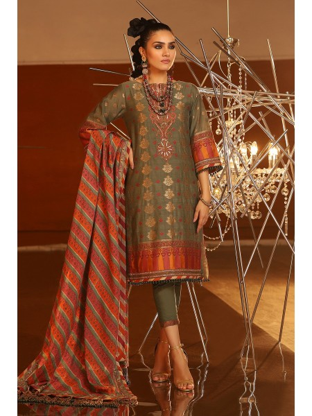 Alkaram Festive Collection 3 Piece Embroidered Suit With Cotton Silk Dupatta FC-02A-20-Seige