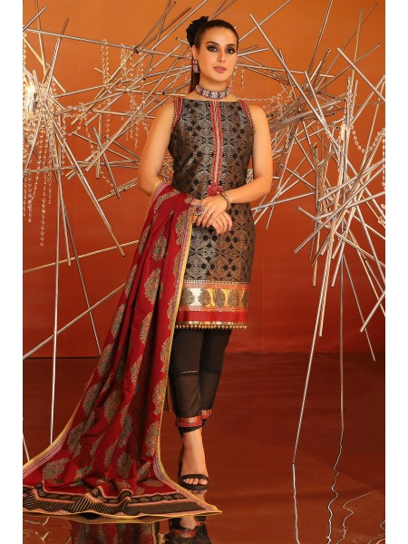 Alkaram Festive Collection 3 Piece Embroidered Suit With Cotton Silk Dupatta FC-05B-20-Black