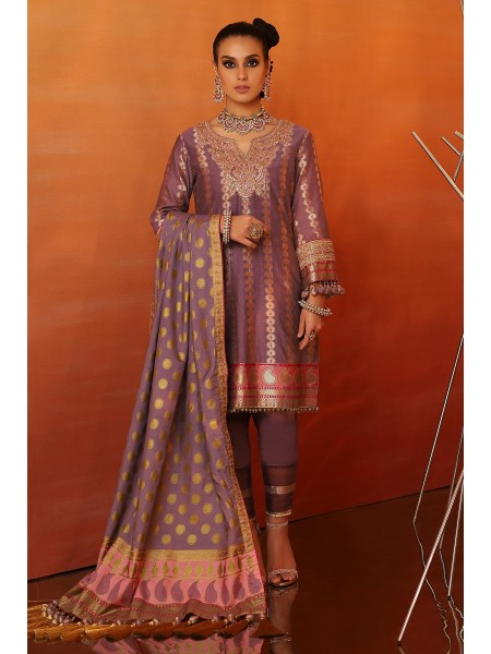 Alkaram Festive Collection 3 Piece Embroidered Suit With Cotton Silk Dupatta FC-06B-20-Purple