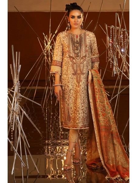 Alkaram Festive Collection 3 Piece Embroidered Suit With Cotton Silk Dupatta FC-20I-20-Cream