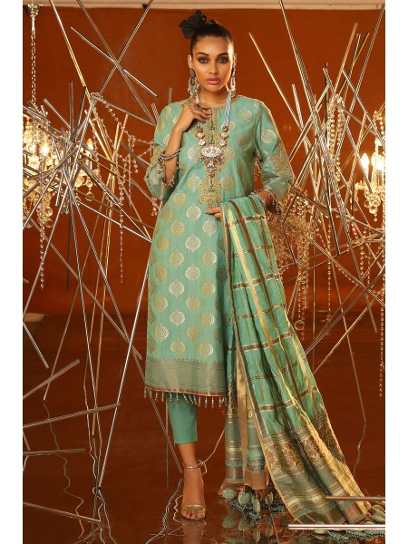 Alkaram Festive Collection 3 Piece Embroidered Suit With Jacquard Woven Dupatta FC-01A-20-Ferozi