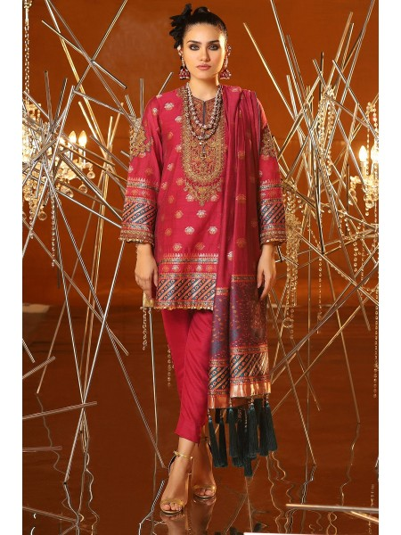 Alkaram Festive Collection 3 Piece Embroidered Suit With Jacquard Woven Dupatta FC-04A-20-Magenta