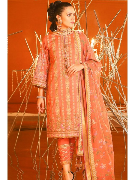 Alkaram Festive Collection 3 Piece Embroidered Suit With Printed Chiffon Dupatta FC-24K-20-Coral