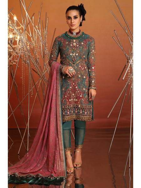 Alkaram Festive Collection 4 Piece Embroidered Suit With Printed Chiffon Dupatta FC-21J-20-Green