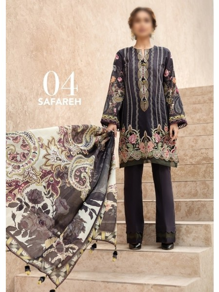 BAROQUE Iris Unstiched Lawn 2020 By Jazmin D-04-SAFAREH