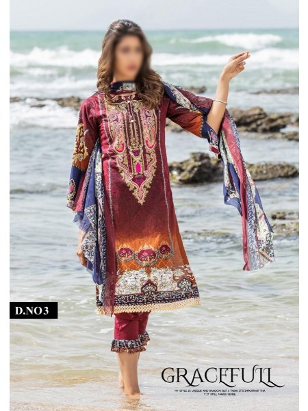 SOGHAT Posh Lawn Designer Printed & Embroidered Unstiched Collection Vol-2 D-03
