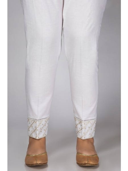 Zeen Woman Festive Edition Embroidered Cigarette Pants WEP2210-White