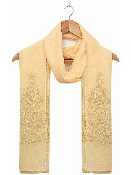 Zeen Woman Festive Edition Solid Embroidered Scarf - Lemon 647646
