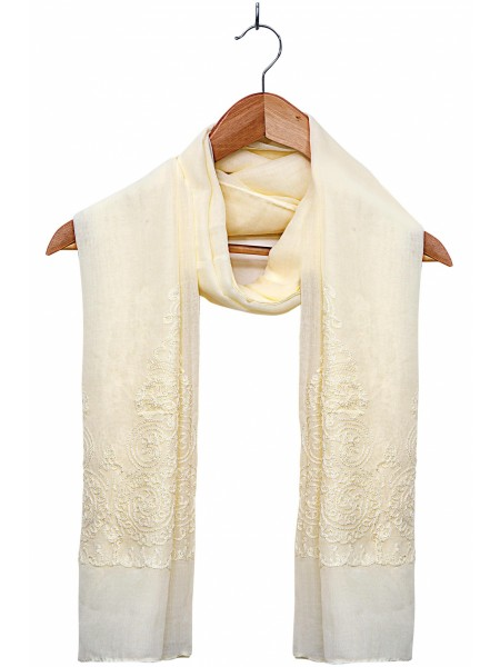 Zeen Woman Festive Edition Solid Embroidered Scarf - Lemon & Off White 647645