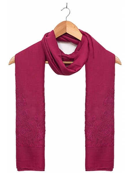 Zeen Woman Festive Edition Solid Embroidered Scarf - Magenta 647644