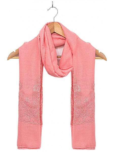 Zeen Woman Festive Edition Solid Embroidered Scarf - Rose 647647