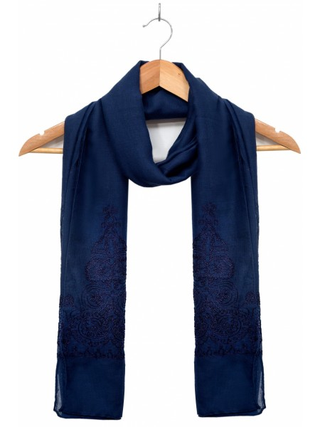 Zeen Woman Festive Edition Solid Embroidered Scarf - Royal Blue 647643