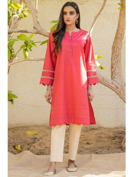 Zeen Woman Festive Edition Stitched 1 Piece Dyed Shirt - Coral WA101009-Coral