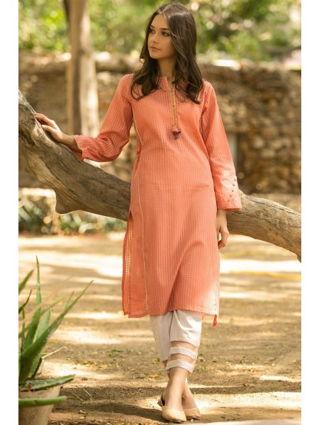 Zeen Woman Festive Edition Stitched 1 Piece Embellished Shirt - Orange WA102002-Orange