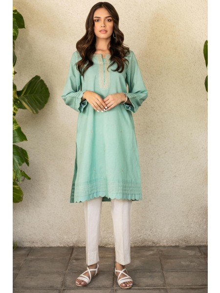 Zeen Woman Festive Edition Stitched 1 Piece Embroidered Shirt - Green WA101027-Green