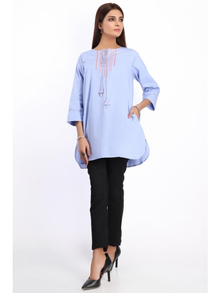 Zeen Woman Festive Edition Stitched 1 Piece Embroidered Shirt - Oxford Blue WA101032-Oxford-Blue