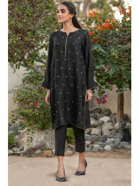 Zeen Woman Festive Edition Stitched 1 Piece Jacquard Embroidered Shirt WZM10115-Black