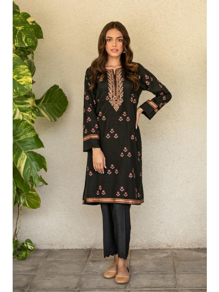 Zeen Woman Festive Edition Stitched 1 Piece Raw Silk Embroidered Shirt WZM10109-Black-Fantasy